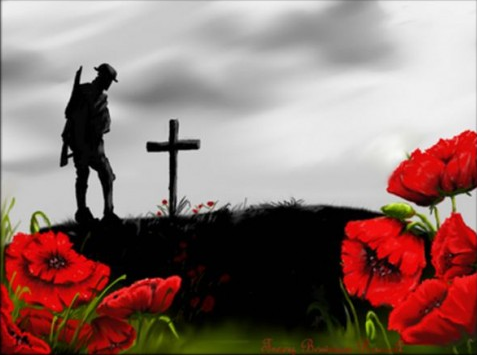 Silhoutted soldier and cross, poppies